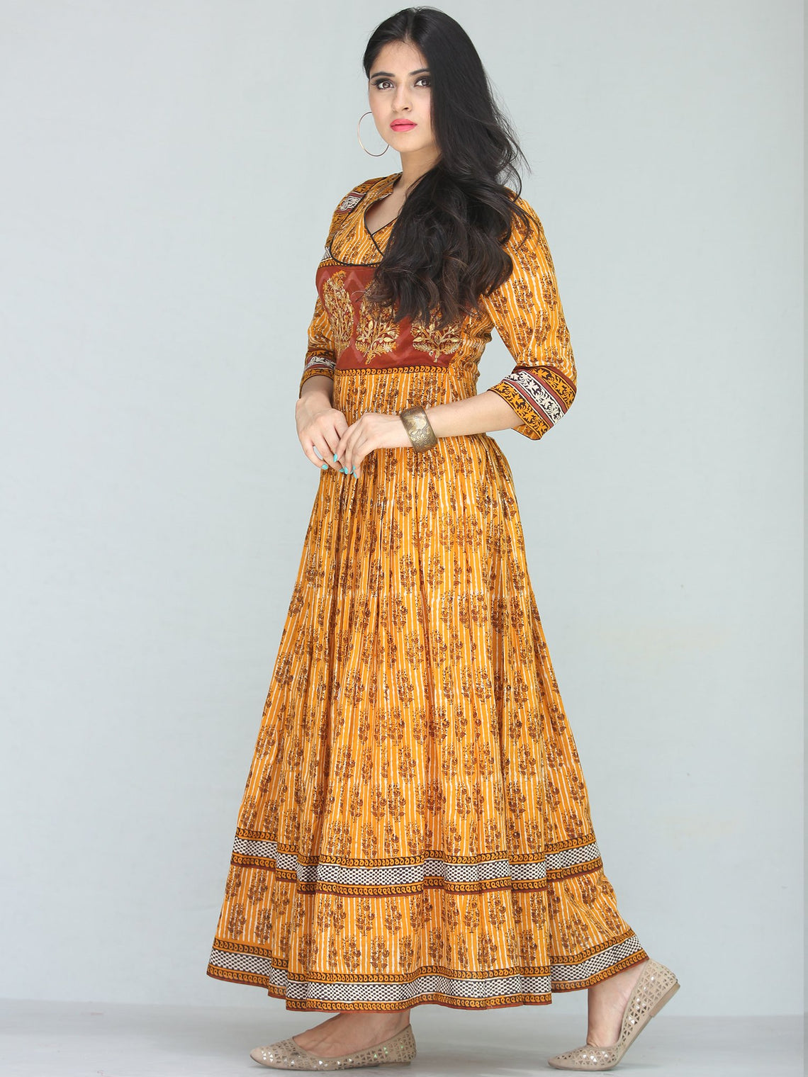 Naaz Sehar - Hand Block Printed Long Cotton Dress With Embroidery - DS112F001