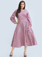 Renaz - Block Printed Cotton Midi Dress With Back Highlighting - D426F2249