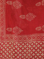 Red & Beige Kota Doria Cotton Hand Block Printed Dupatta  - D04170161