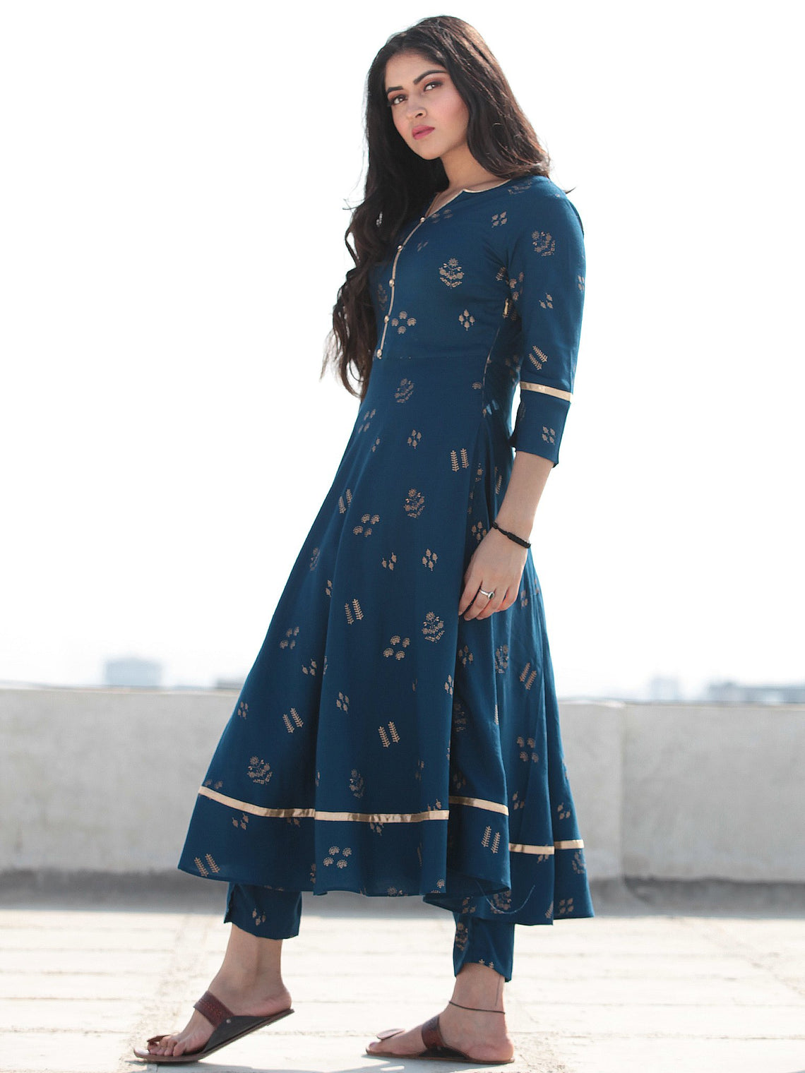 Raas Neelofar - Set of Flared Kurta & Pants  - KS80F2155