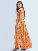 Gulzar Sahat - Hand Block Printed Pleated Long Angrakha Dress - D427F2272