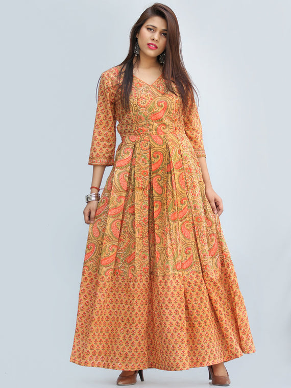 Sahat - Hand Block Printed Pleated Long Angrakha Dress - D427F2272