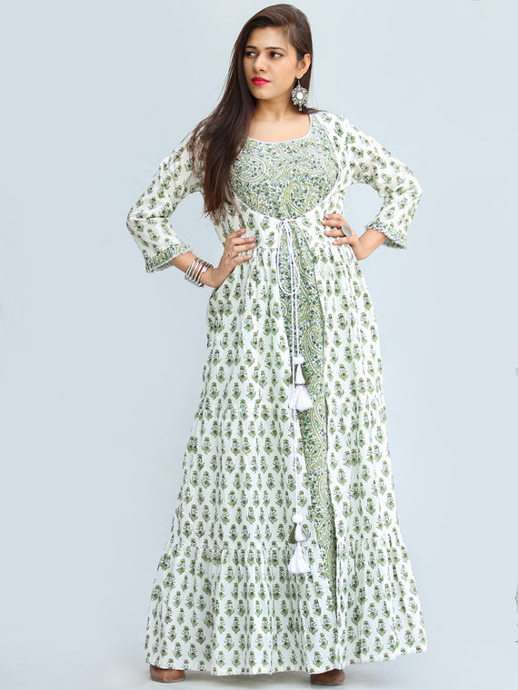 Parinaz - Hand Block Printed Pleated Long Cape Dress With Tunic - D428F2274