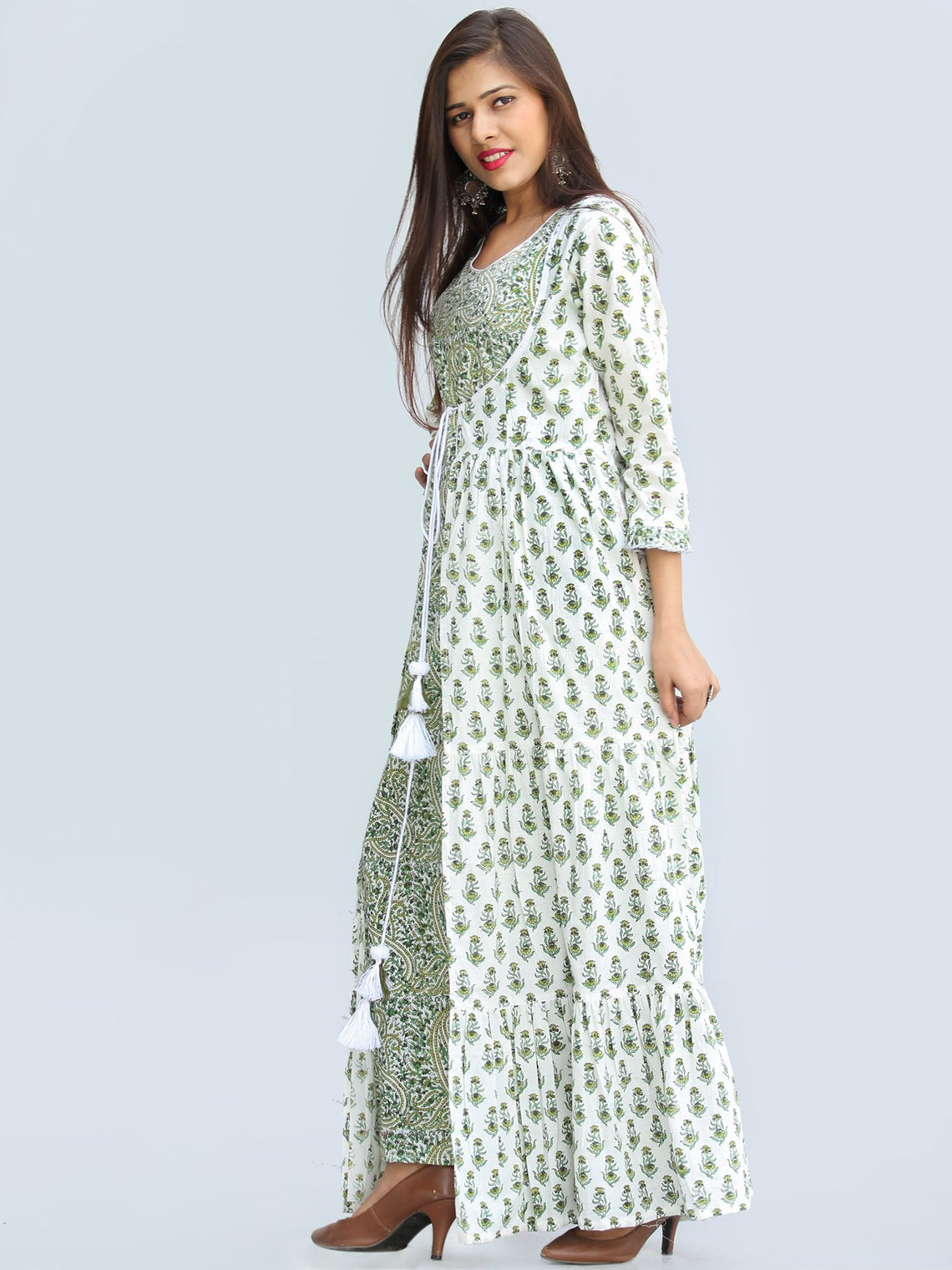 Gulzar Parinaz - Hand Block Printed Pleated Long Cape Dress With Tunic - D428F2274