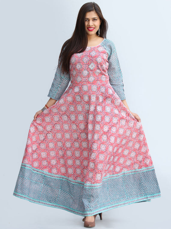 Gulzar Farzaan - Hand Block Printed Urave Cut Long Cotton Dress With Raglan Sleeves - D429F2269