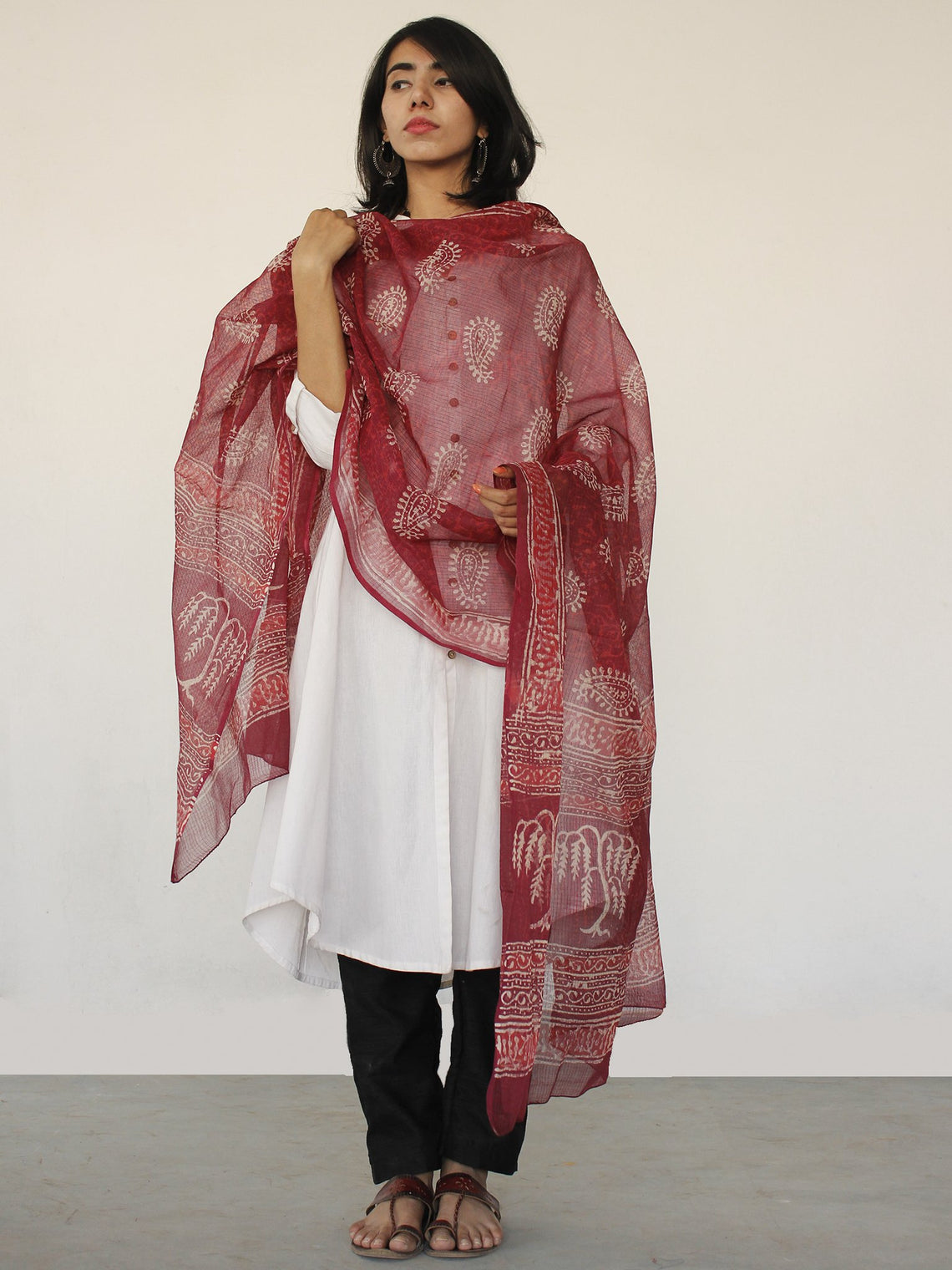 Red & Beige Kota Doria Cotton Hand Block Printed Dupatta  - D04170165