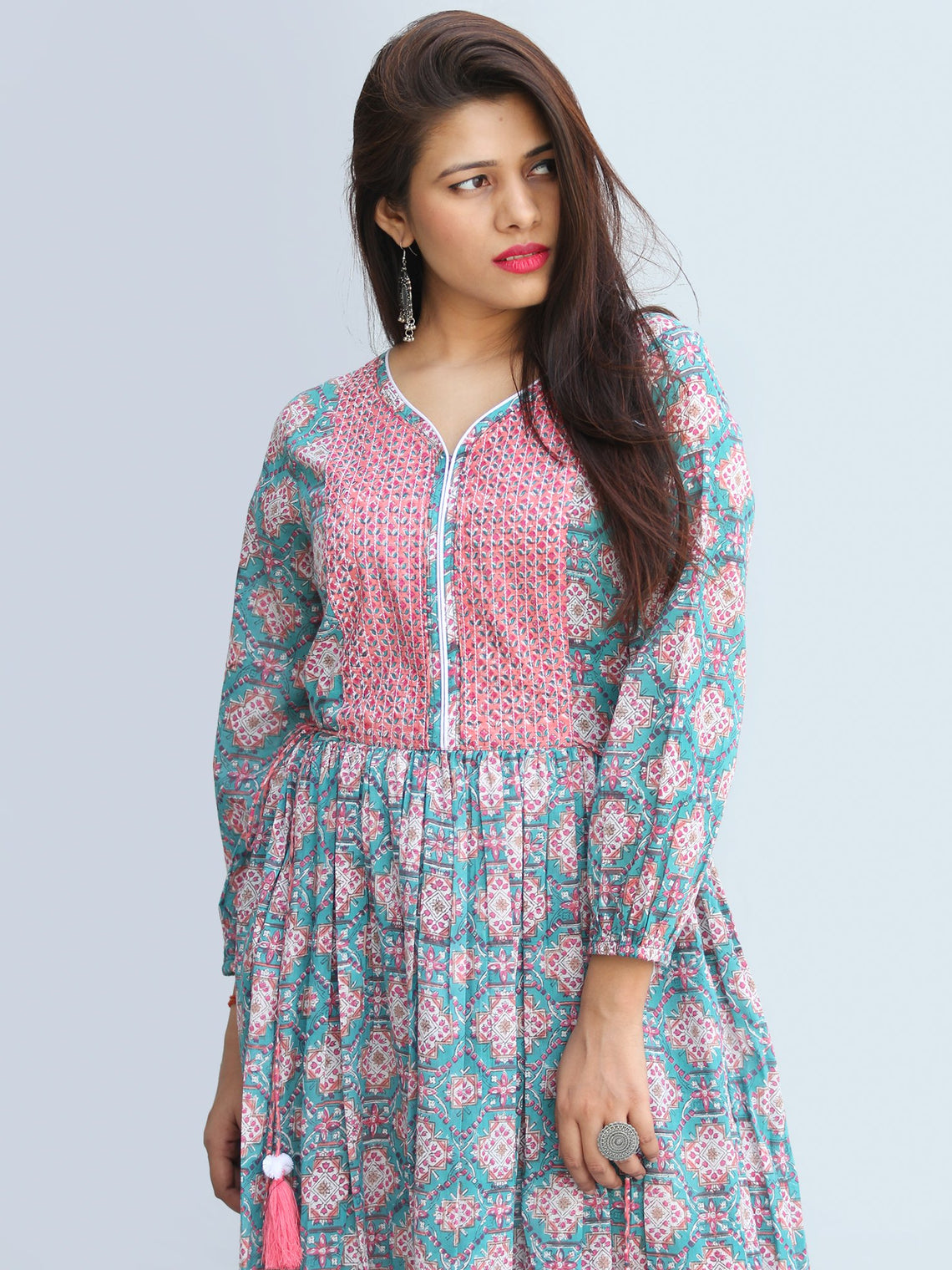 Gulzar Ibadat - Hand Block Printed Tiered Long Dress With Tassels - D430F2267