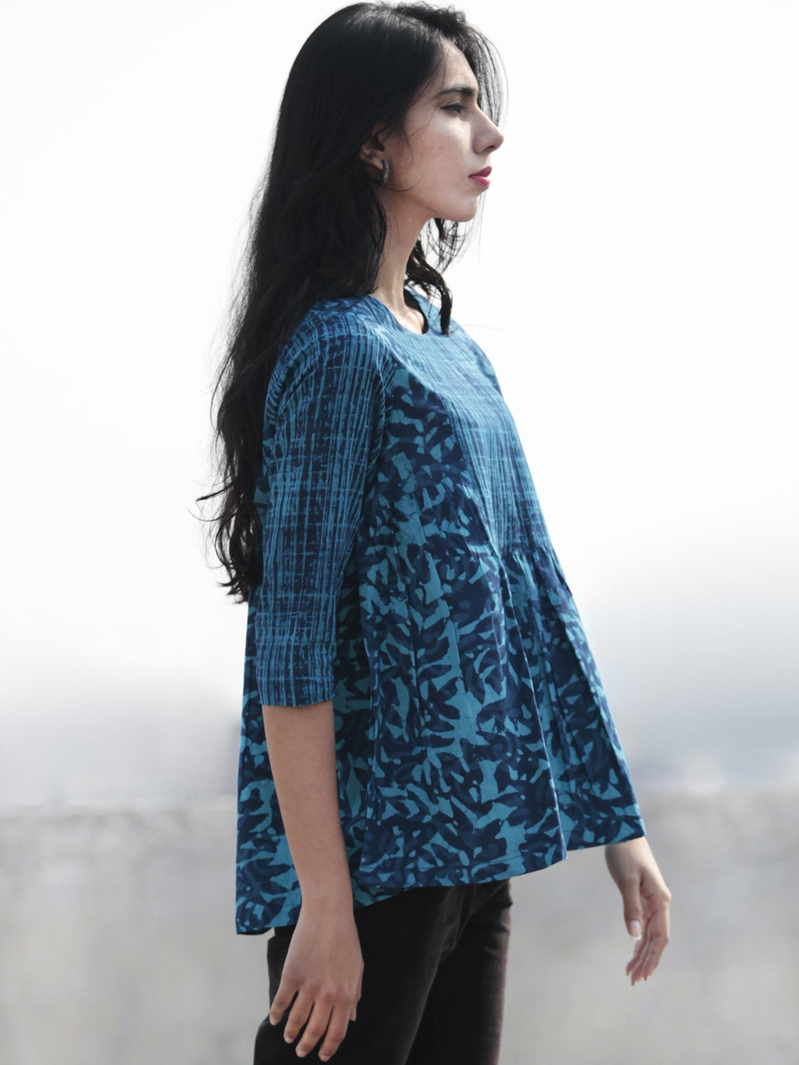 Ink Blue And Cerulean Blue Hand Block Printed Cotton Top - T25F6456