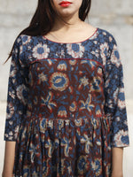 Indigo Brown Rust Long Hand Block Printed Cotton Tier Dress With Pintucks  - D180F613