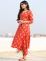Raas Saaj - Red Block Printed Straight Kurta & Pants - KS89A2378
