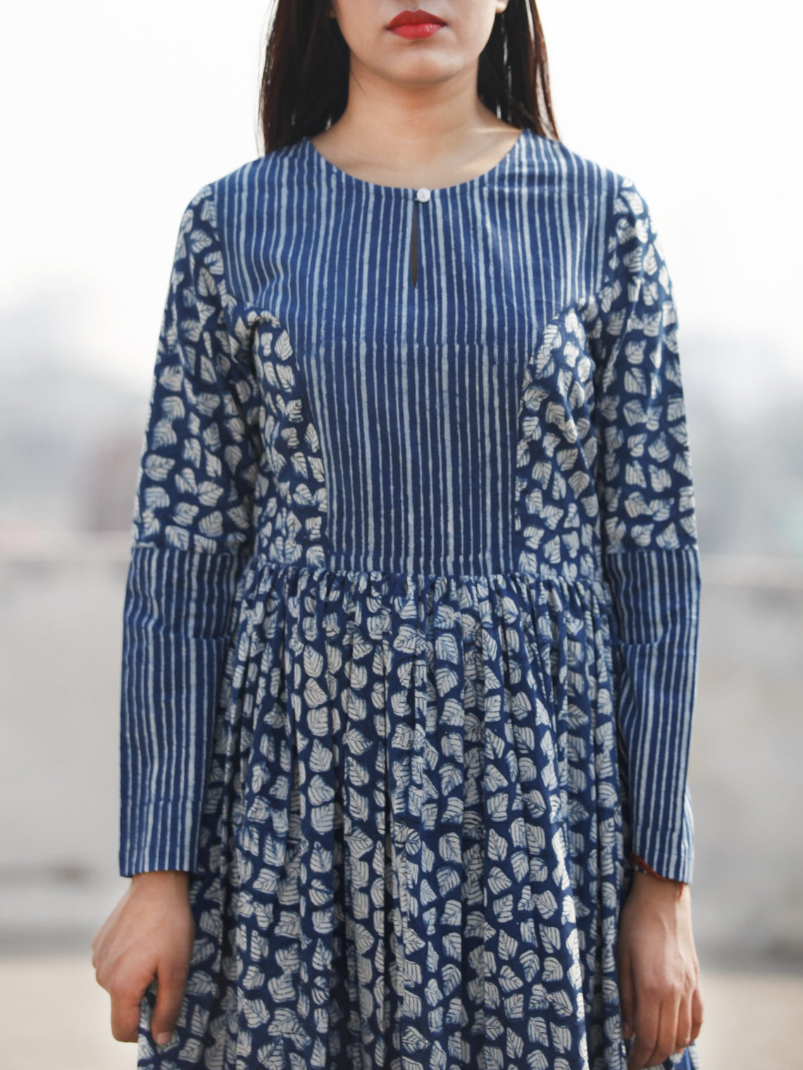 Indigo Ivory Long Hand Block Printed Long Cotton Tier Dress  - D139F1065