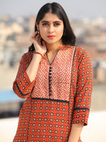 Raas Sameera - Red Ajrakh Block Printed Straight Kurta & Pants - KS60F2398