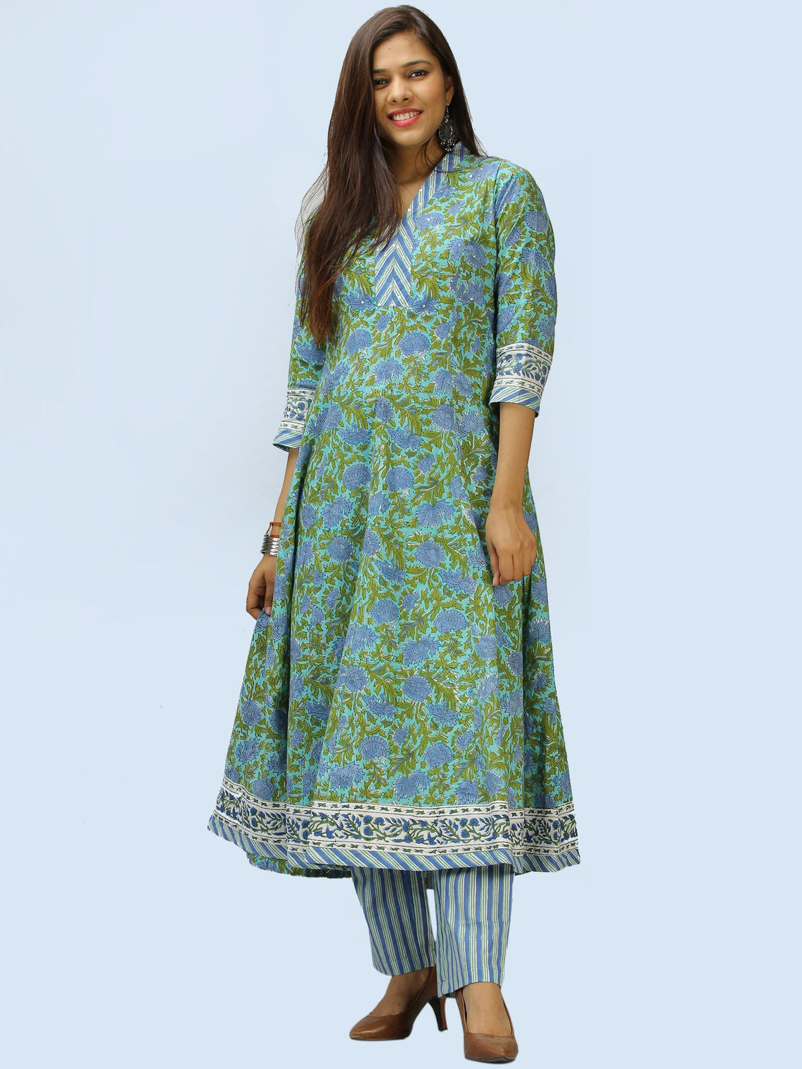 Rangrez Aabroo - Set of Anarkali Kurta Palazzo & Dupatta - KS56A2304D