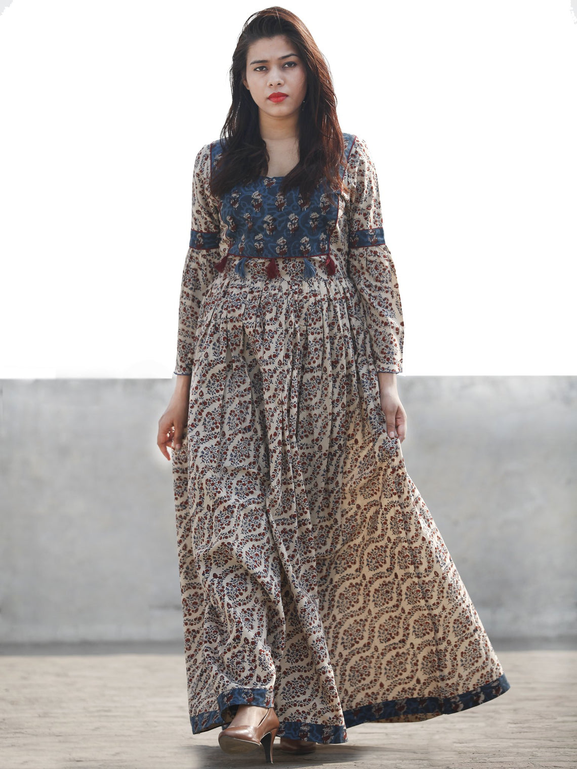 Beige Indigo Maroon Hand Block Printed Long Gather Dress With Tassels - D182F1149