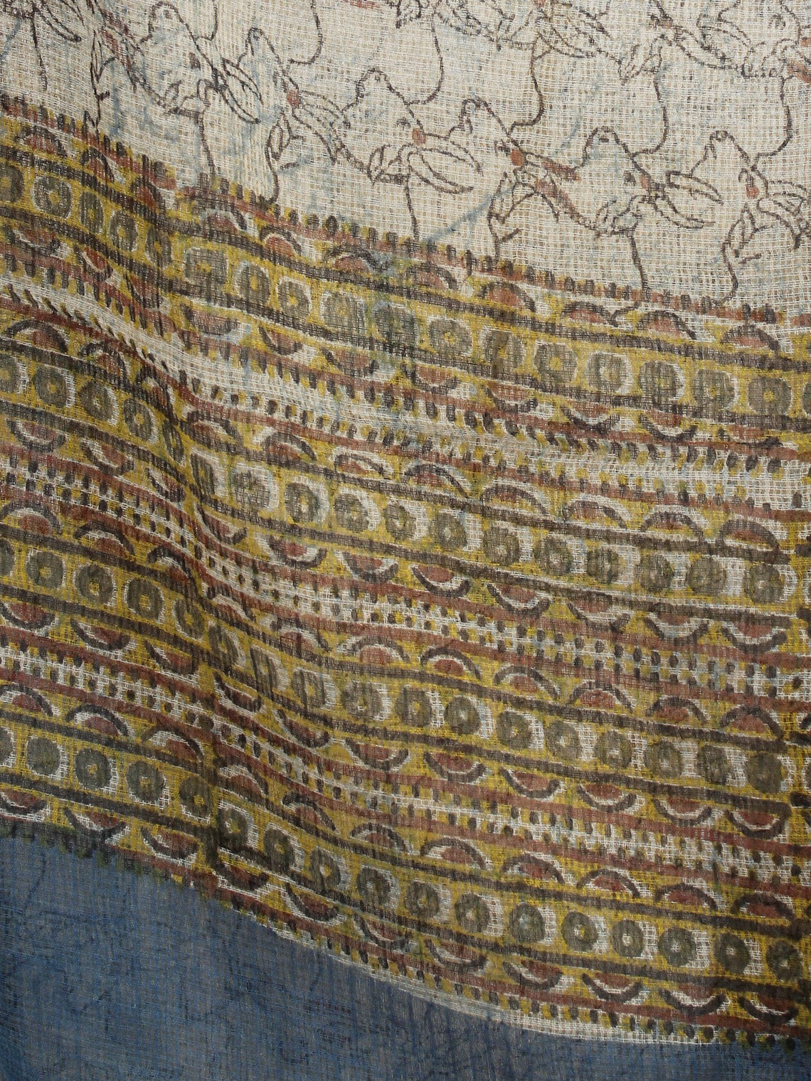 Beige Brown Blue Kota Doria Cotton Hand Block Printed Dupatta  - D04170206