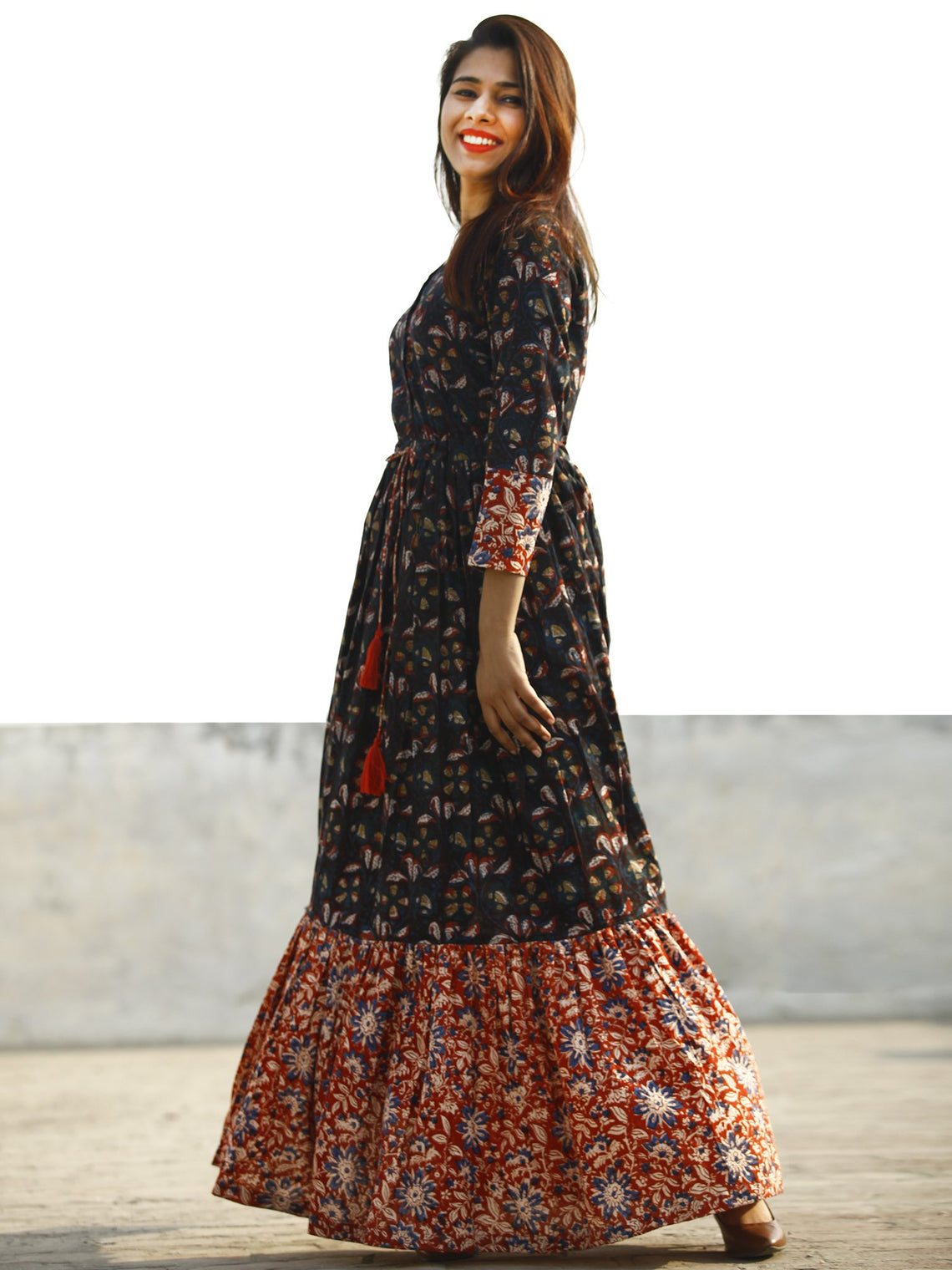 Indigo Brown Red Hand Block Printed Long Cotton Tie Up Waist Dress -  D170F1139