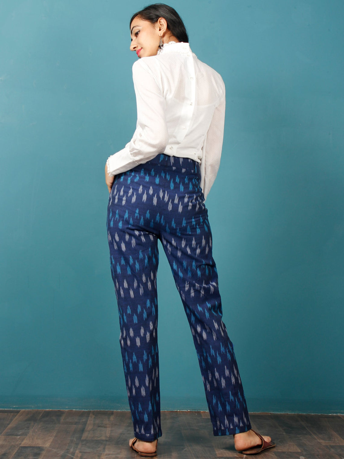 Indigo Sky Blue Gery Hand Woven Ikat Trousers - T032F939