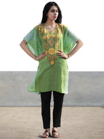 Green Yellow Beige Aari Embroidered Short Kashmere Kaftan  - K11K041