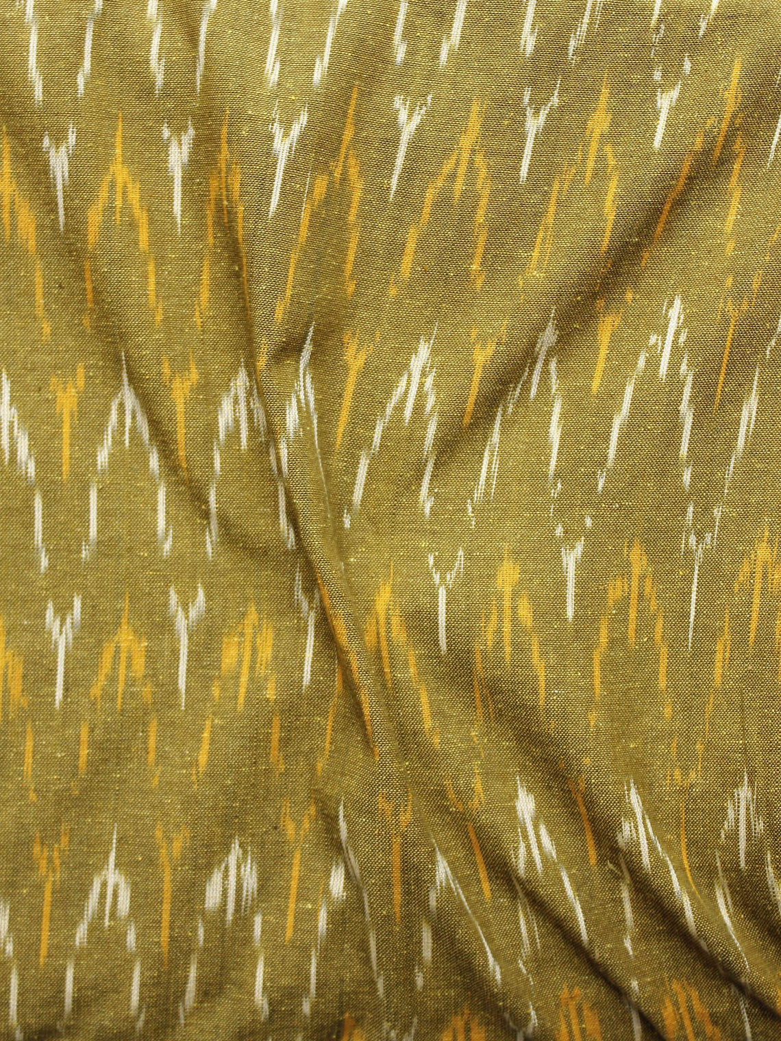 Olive Green Orange Ivory Pochampally Hand Woven Ikat Fabric Per Meter - F002F960
