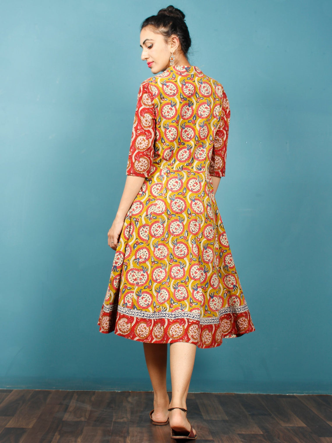 Mustard Coral Indigo Ivory Hand Block Printed Cotton Midi Dress - D243F1375