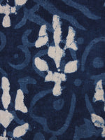 Indigo White Natural Dyed Hand Block Printed Cotton Fabric Per Meter - F0916033