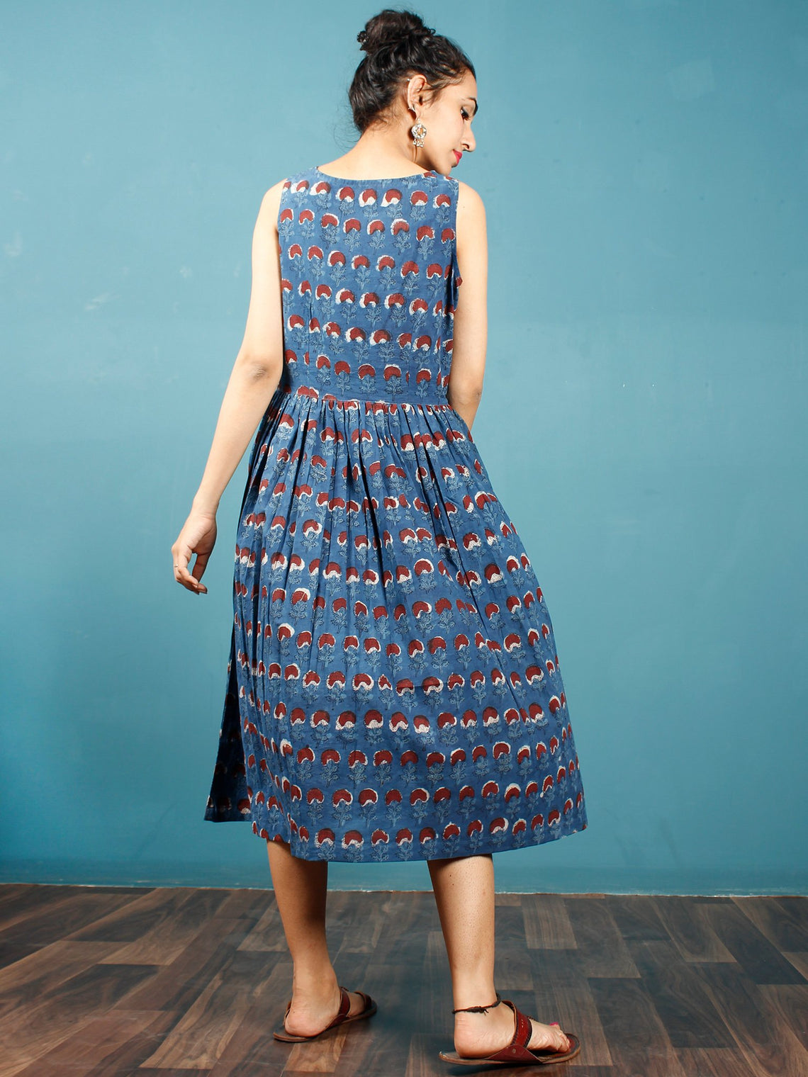 Indigo Brown Ivory Black Hand Block Printed Cotton Midi Sleeveless Dress - D244F1336