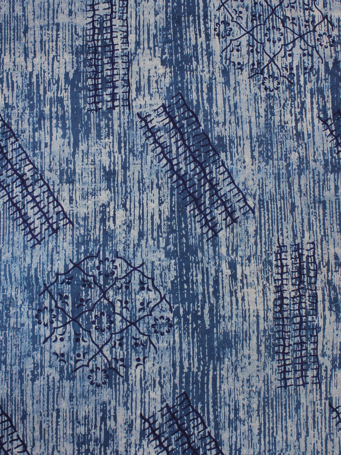 Indigo Blue Natural Dyed Hand Block Printed Cotton Fabric Per Meter - F0916359