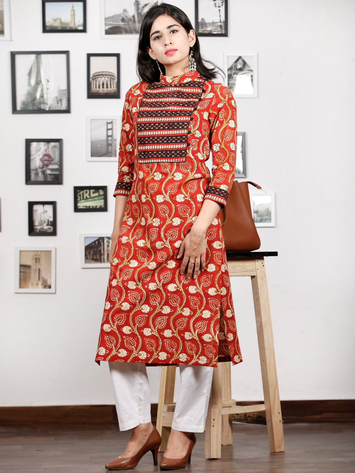 Rust Peanut Brown Black Ivory Hand Block Printed Kurta With Stand Collar - K86F1367