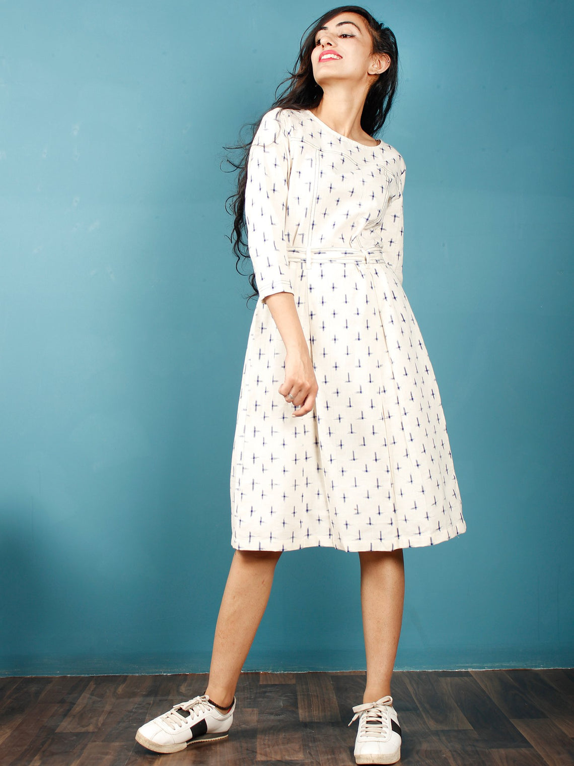 Ivory Indigo Double Ikat Handwoven Midi Dress With Belt - D247F1233