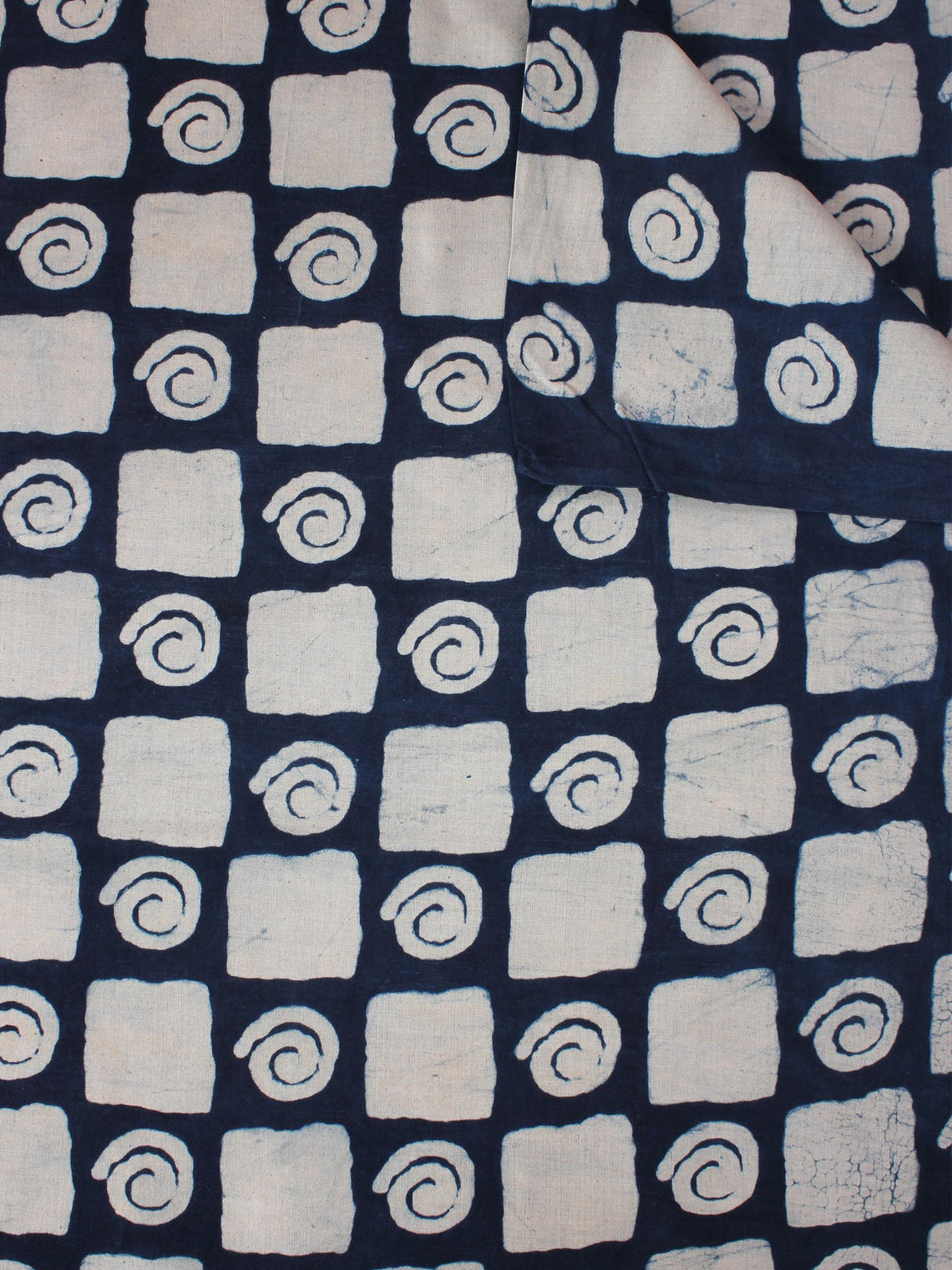 Indigo Ivory Natural Dyed Hand Block Printed Cotton Fabric Per Meter - F0916078