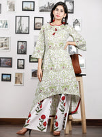 White Green Maroon Hand Block Printed Asymmetric Kurta With Culottes (Set of 2) - D285F1494