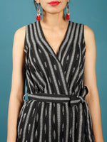 Black White Ikat Handwoven Jumpsuit With Belt And Back Zip - D249F1262