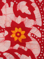 Red Multi Color Hand Block Printed Cotton Fabric Per Meter - F0916319