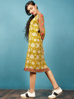 Mustard Black Coral Beige Hand Block Printed Cotton Tunic Dress - D237F1376