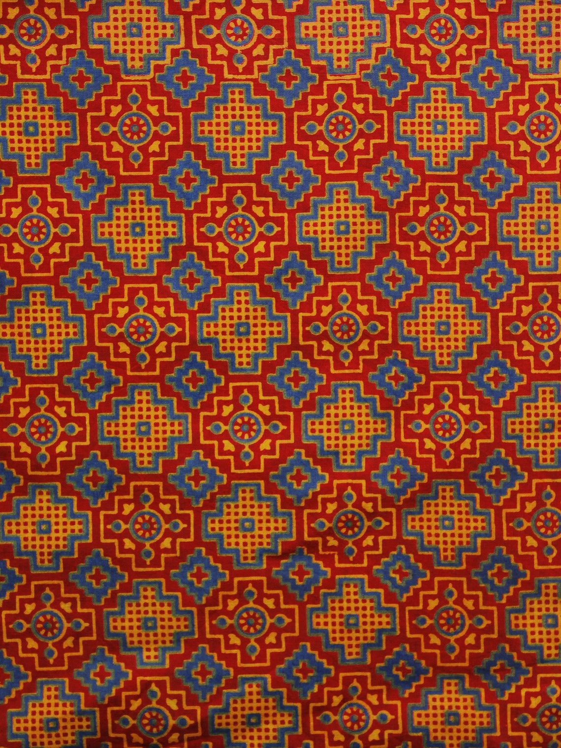 Red Blue Yellow Ajrakh Block Printed Cotton Fabric Per Meter - F003F979