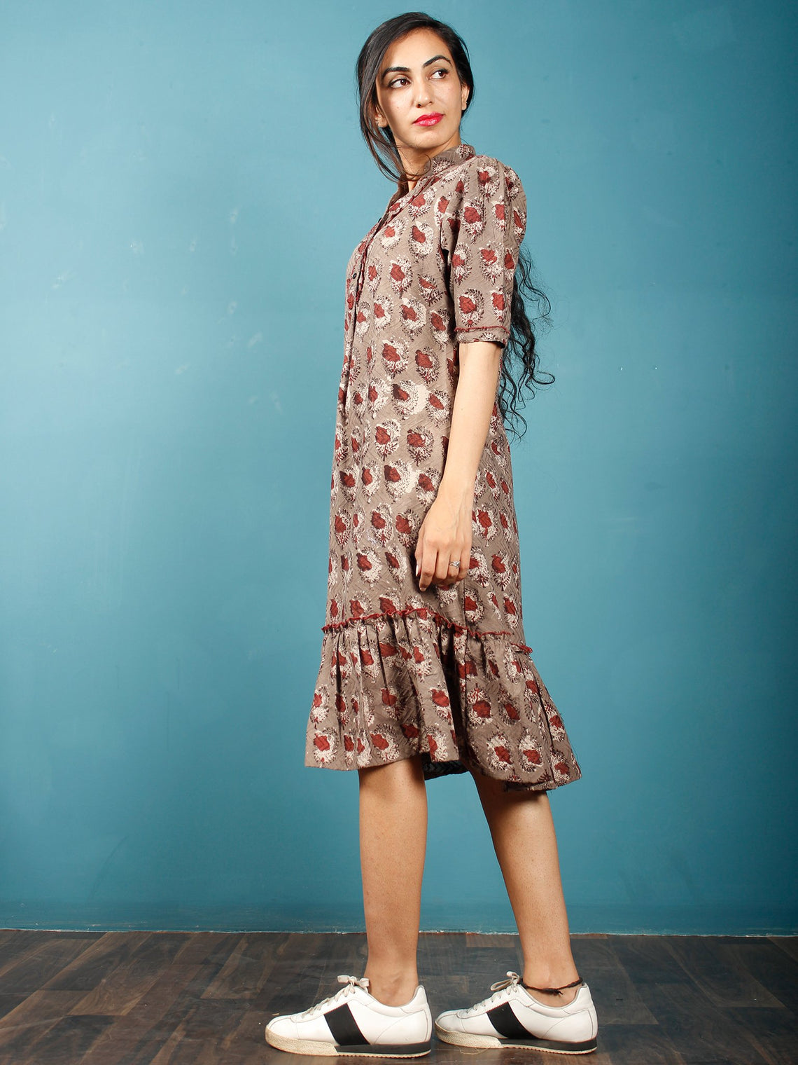 Brown Rust Beige Hand Block Printed Dobby Cotton Frock Dress With Stand Collar - D252F1363