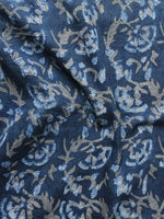 Indigo Ivory Kashish Hand Block Printed Cotton Fabric Per Meter - F001F980