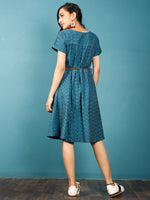 Teal Blue White Ikat Handwoven Cotton Tunic Dress With Front Pockets - D252F935