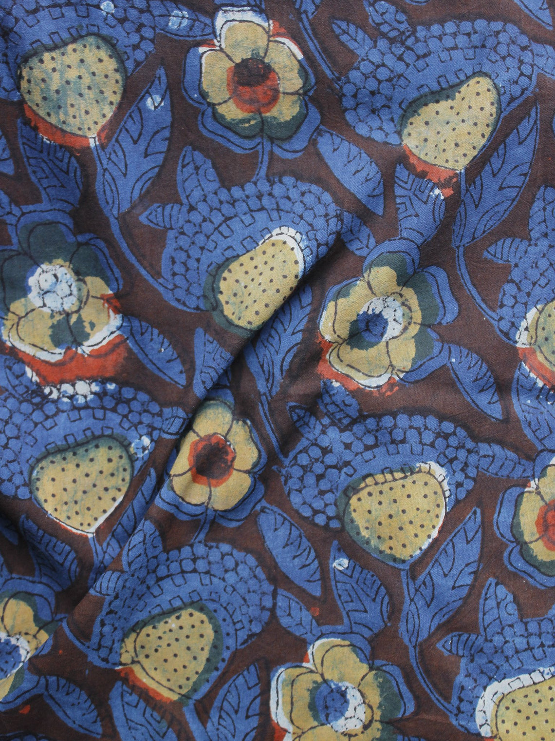 Indigo Brown Black Beige Hand Block Printed Cotton Fabric Per Meter - F001F981