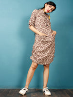 Brown Beige Black Hand Block Printed Cotton Short Dress With Front Pockets  - D254F1334
