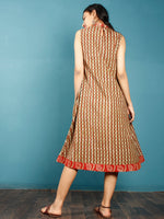 Olive Green Rust Beige Black Hand Block Printed Cotton Dress With front Pleats  - D255F1353