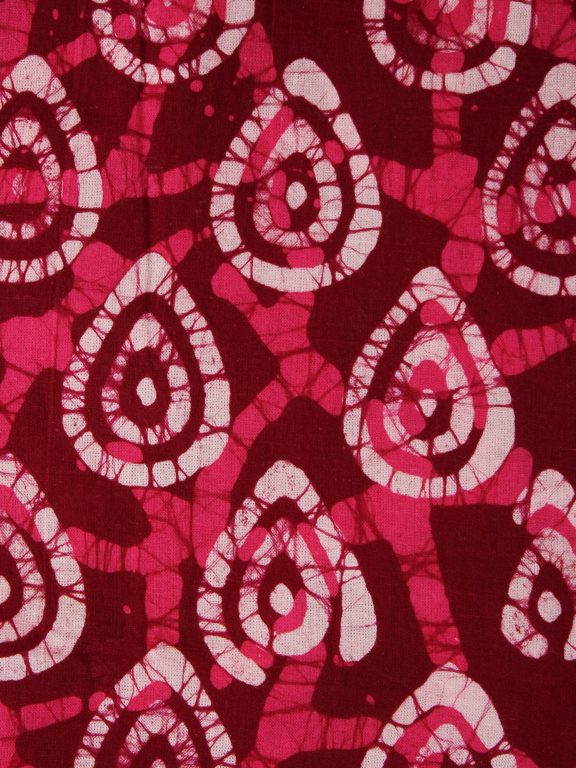 Maroon Pink White Hand Block Printed Cotton Fabric Per Meter - F0916333