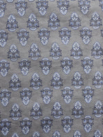 Kashish Ivory Blue Hand Block Printed Cotton Fabric Per Meter - F001F988