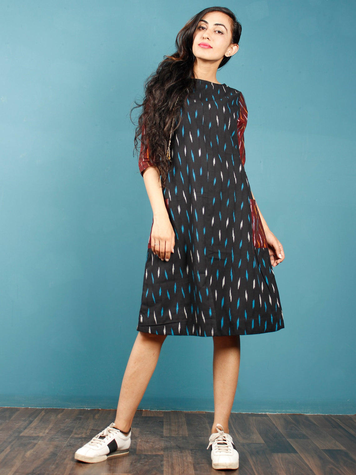 7bd346d458a5 Black Turquoise Maroon White Ikat Handwoven Tunic Dress With Side Pockets  And Back Slit - D66F739 ...