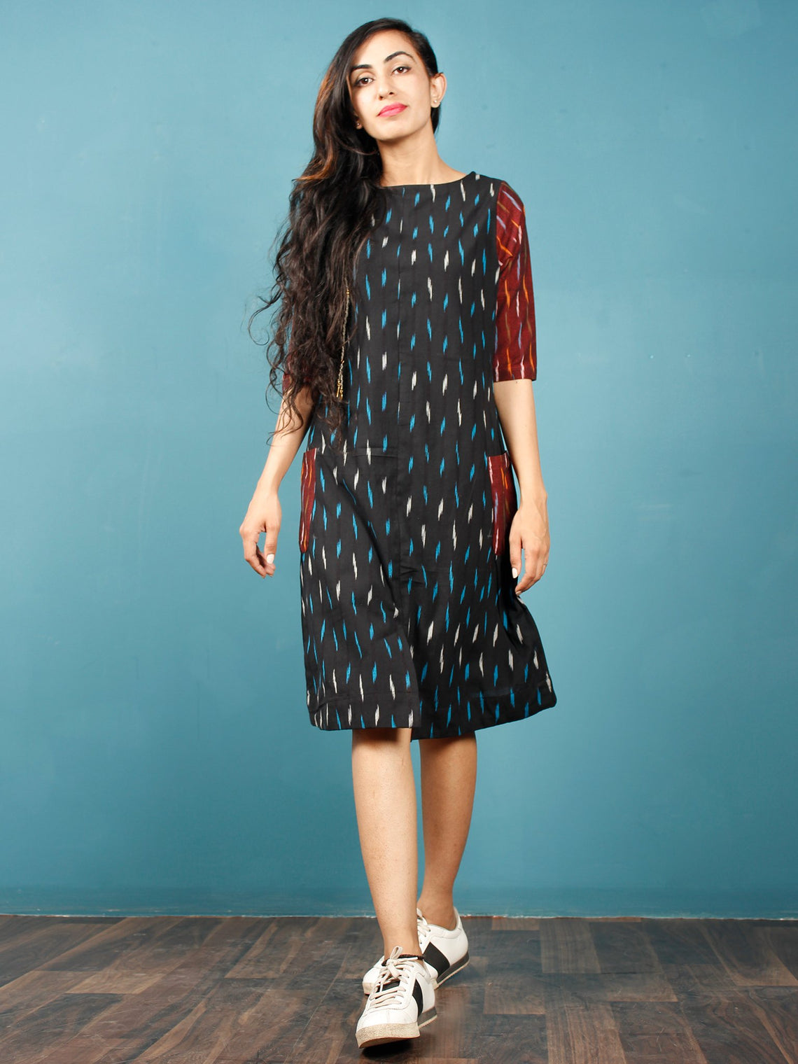 c813d0663b81 ... Black Turquoise Maroon White Ikat Handwoven Tunic Dress With Side  Pockets And Back Slit - D66F739 ...