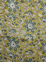Mustard Teal Green Ivory Hand Block Printed Cotton Fabric Per Meter - F001F989