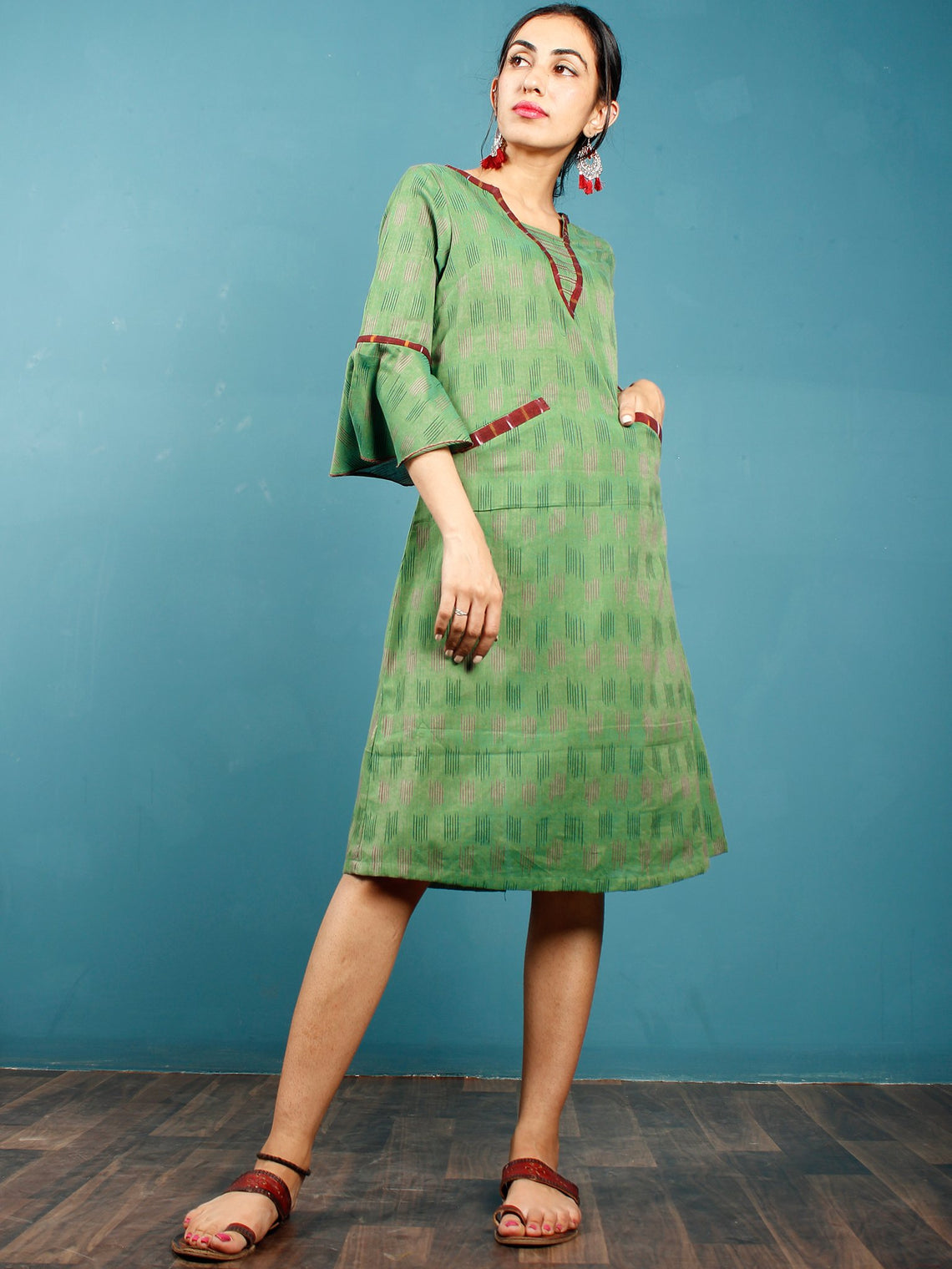 Green Maroon Ikat Handwoven Cotton Tunic Dress With Pockets And Bell Sleeves - D261F1232