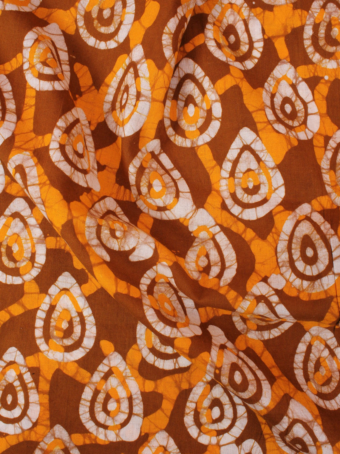 Mustard Yellow White Hand Block Printed Cotton Fabric Per Meter - F0916343