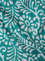 Mint Green White Hand Block Printed Cotton Fabric Per Meter - F0916341