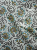 White Grey Olive Green Blue Hand Block Printed Cotton Fabric Per Meter - F001F991